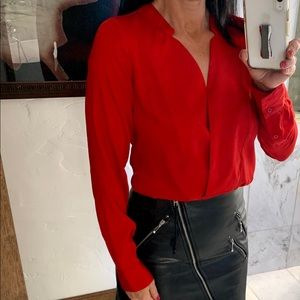 The Limited Red Long Sleeve Blouse Top